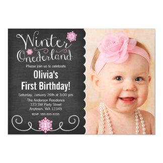 """Primer cumpleaños del invierno de la foto invitación 4.5"""" x 6.25"""""""