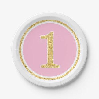 Primer cumpleaños del oro del falso círculo rosado