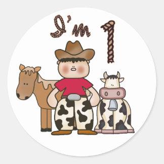 Primer cumpleaños del vaquero pegatina redonda