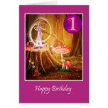 Primer cumpleaños feliz para el chica con la hada tarjetas
