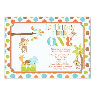 """Primer cumpleaños Invita de los pequeños del mono Invitación 5"""" X 7"""""""
