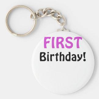 Primer cumpleaños llavero redondo tipo pin