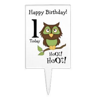¡Primer Cumpleaños-Pitido del búho lindo Palillos De Tarta