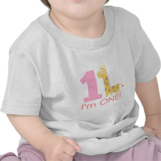 Primer cumpleaños, soy uno, jirafa linda camisetas