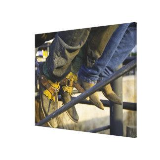 Primer de botas y de estímulos impresión en lona estirada