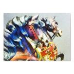 Primer de dos caballos del carrusel invitación 12,7 x 17,8 cm
