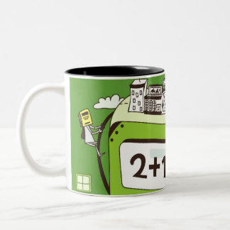 Primer de edificios en una calculadora tazas de café