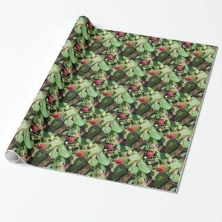 Primer de fresas orgánicas frescas papel de regalo