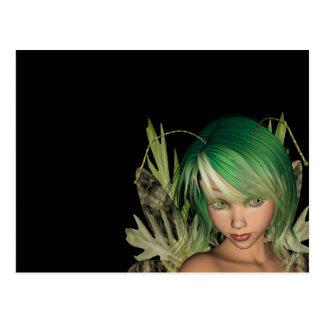 Primer de hadas 3D del bosque verde Tarjetas Postales