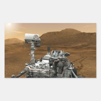 Primer de la curiosidad Rover de Marte Pegatina Rectangular