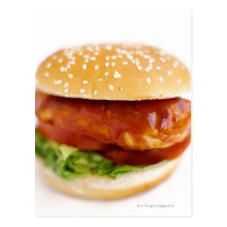Primer de la hamburguesa del pollo postal