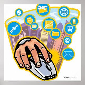 Primer de la mano en ratón del ordenador posters