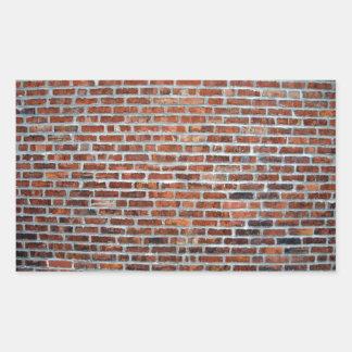 Primer de la pared de ladrillo roja resistida rectangular pegatina