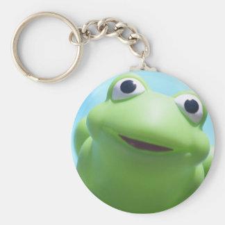 Primer de la rana del juguete llavero redondo tipo pin