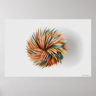 Primer de lápices coloreados póster