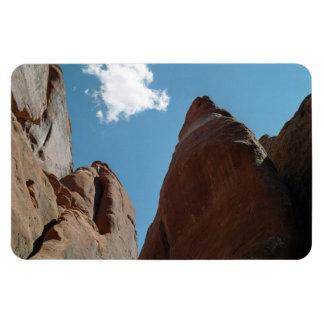 Primer de las aletas de la piedra arenisca imán foto rectangular