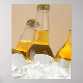Primer de las botellas de cerveza en hielo póster
