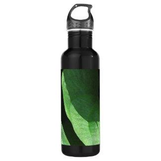 Primer de las hojas en luz y sombra botella de agua de acero inoxidable