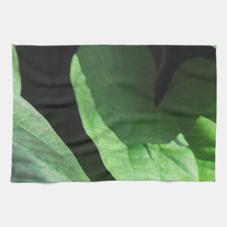 Primer de las hojas en luz y sombra toalla de cocina
