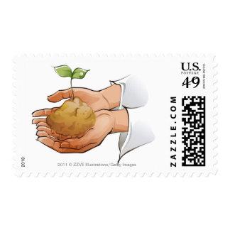 Primer de las manos de una persona que sostienen sello