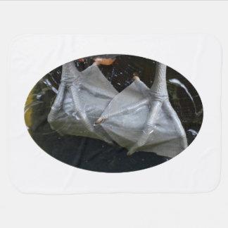 primer de los pies del pelícano en registro mantitas para bebé