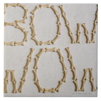 Primer de los textos BOW WOW hecho con las galleta Tejas