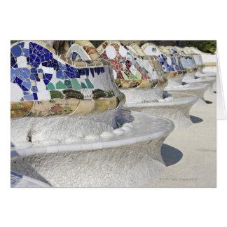 Primer de mosaicos en el edificio de Gaudi, Parc Tarjeta De Felicitación
