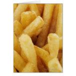 Primer de patatas fritas tarjeta de felicitación