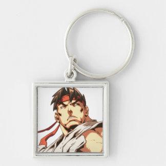 Primer de Ryu Llavero Cuadrado Plateado