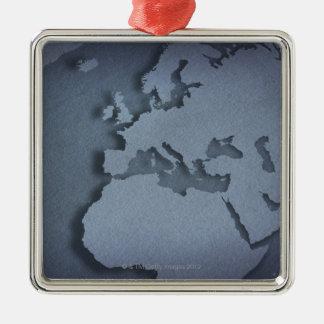 Primer de un globo azul que muestra la África del Adorno Navideño Cuadrado De Metal
