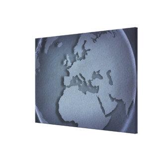 Primer de un globo azul que muestra la África del Impresión En Lienzo