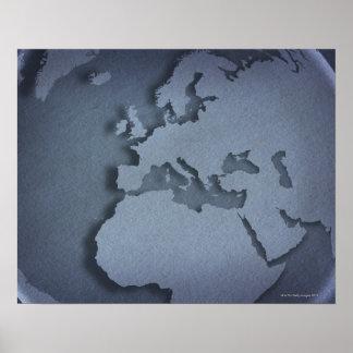 Primer de un globo azul que muestra la África del Posters