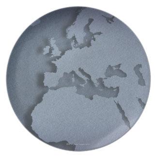 Primer de un globo azul que muestra la África del Plato De Cena