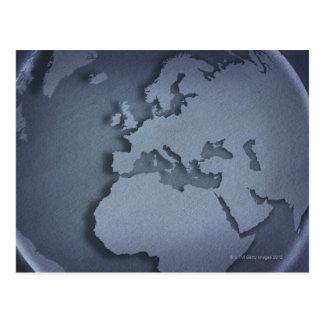 Primer de un globo azul que muestra la África del Postal