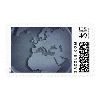 Primer de un globo azul que muestra la África del Sellos Postales