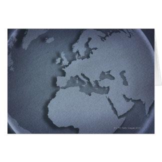 Primer de un globo azul que muestra la África del Felicitaciones