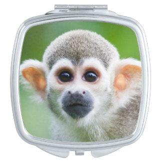 Primer de un mono de ardilla común espejo maquillaje