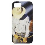 Primer de un vaquero que ata una rienda iPhone 5 Case-Mate protectores
