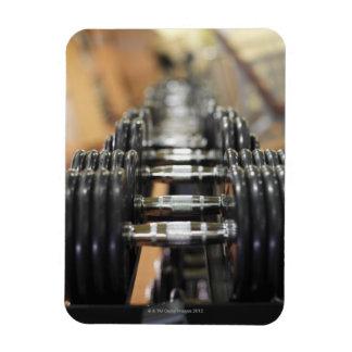 Primer de una fila de pesas de gimnasia iman flexible