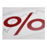 Primer de una muestra de porcentaje en una línea tarjeta postal
