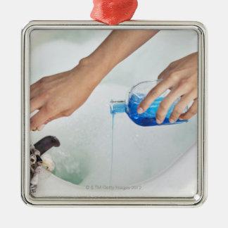 Primer del aromatherapy de colada de la mano de adorno cuadrado plateado
