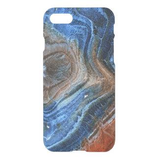 Primer del azul y ágata de Brown con nácar Funda Para iPhone 7