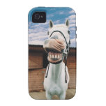 Primer del caballo con la boca abierta iPhone 4 carcasas