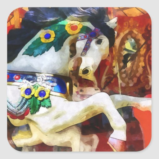 Primer del caballo del carrusel colcomanias cuadradas personalizadas