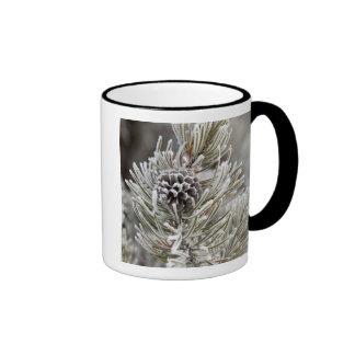 Primer del cono congelado del pino, Yellowstone Taza De Café