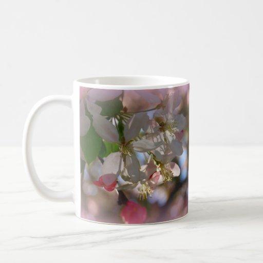 Primer del flor del ciruelo tazas de café
