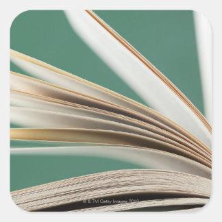 Primer del libro abierto, tiro del estudio pegatina cuadrada
