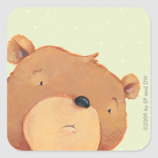 Primer del oso de Brown grande Pegatina Cuadrada