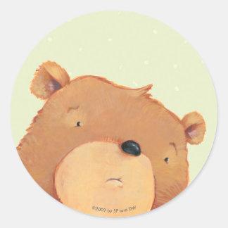 Primer del oso de Brown grande Pegatina Redonda