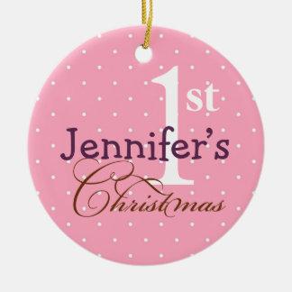 Primer día de fiesta del bebé conocido púrpura adorno navideño redondo de cerámica